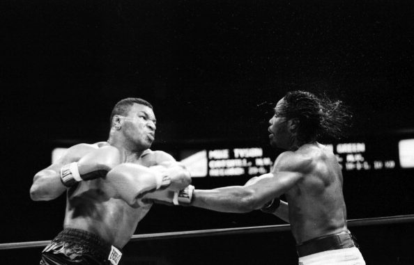 NEW YORK - MAY 20,1986: Mike Tyson (L) throws a punch against Mitch Green during the fight at Madison Square Garden in New York, New York. Mike Tyson won by a UD 10. (Photo by: The Ring Magazine/Getty Images)